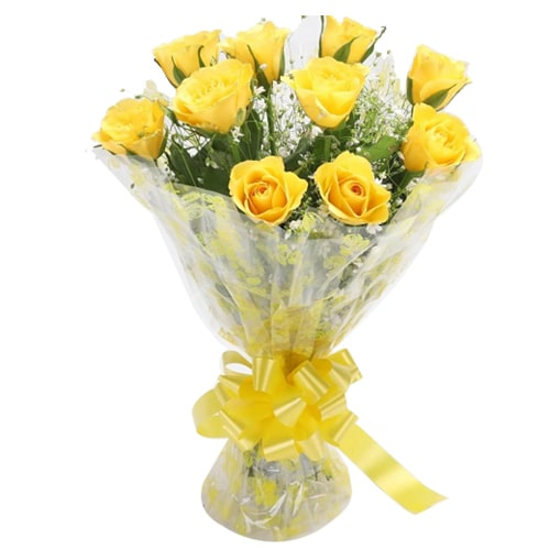 Breathtaking 10 Yellow Roses for Sweet Celebration