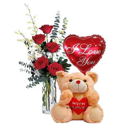 Lovely Love Delight 6 Red Roses with Cuddly Teddy Bear and a Heart Shaped Balloon
