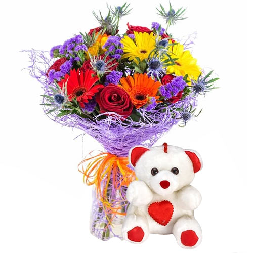 Brilliant Gift of Teddy Bear with Mixed Flowers Bouquet To