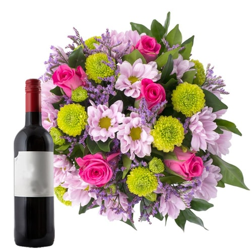 Charming Mixed Flower Bouquet with French Wine Bottle To Tochigi