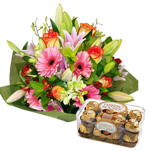 Captivating Flower Bouquet with Chocolates To Iwate