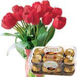 Captivating 10 Red Tulips with Ferrero Rocher To