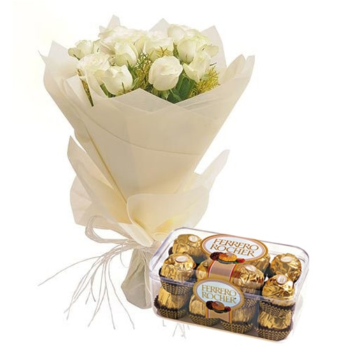Classic Bouquet of 12 White Roses and Fererro Rocher Chocolate To