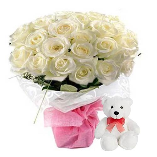 Impressive 24 White Roses in a glass Vase with a Teddy with Love