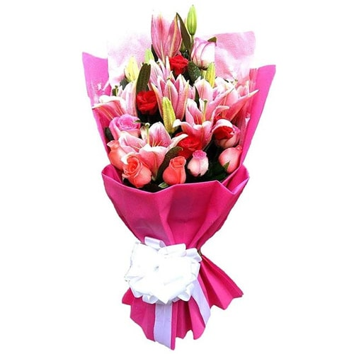 Exotic Cheerful Wishes Mixed Flower Basket To