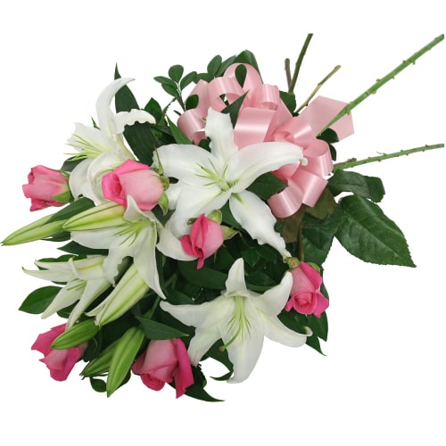 Magnificent Tender Love Pink Roses and Star-Shaped White Lilies To