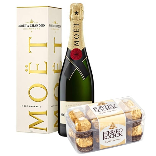 Appealing Champagne with Box Full of Ferrero Rocher Chocolate Box