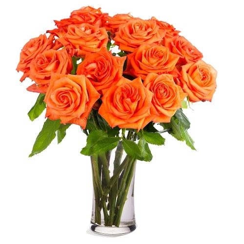 Sensational Joy Forever 12 Orange Roses in a Vase To Iwate