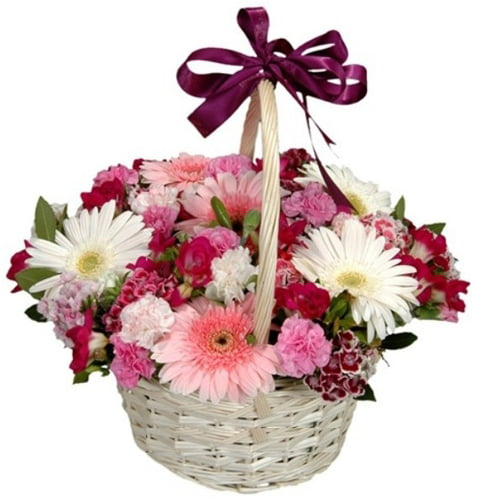 Exotic Love Treat Basket of Seasonal Flowers To