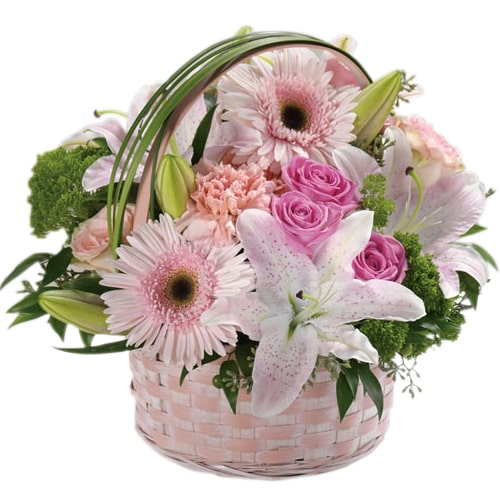 Sophisticated Heart of Love Pink Flowers Arrangement in a Basket To