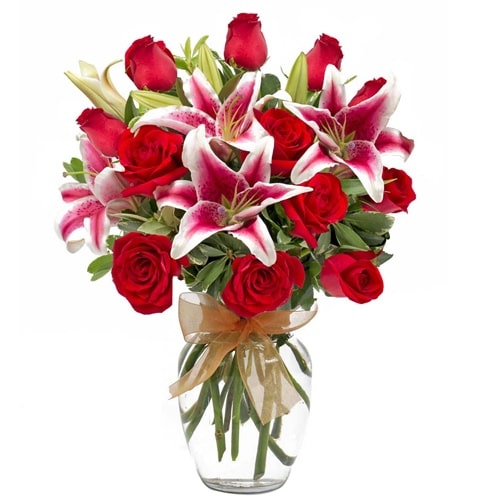 Magical Lovely Feelings 3 Pink Lilies and 5 Red Roses Bouquet with Vase To