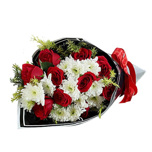Charming White Daisies and 6 Red Roses