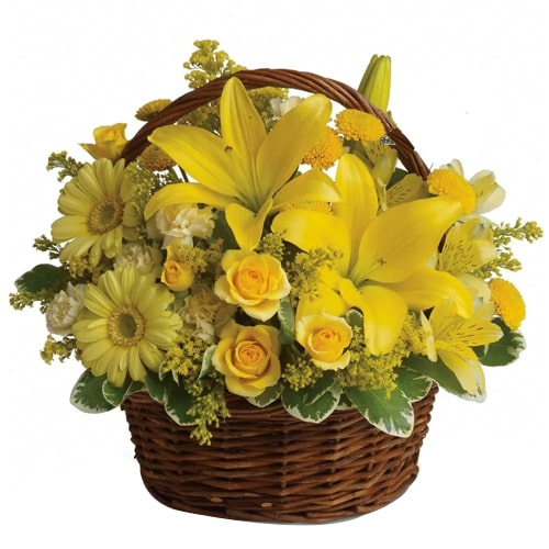 Classic Mix Yellow Flowers Basket with a Glimpse of Bliss