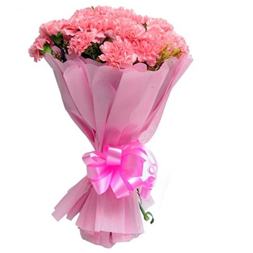 Stunning Twelve Fresh Pink Carnations To