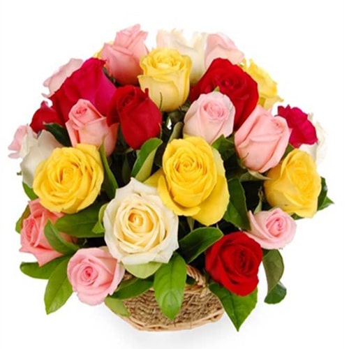 Eye-Catching 12 Mixed Roses Gift Basket for Sweet Seduction To