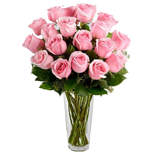 Spectacular Wishing You Happiness 12 Pink Roses with a Glass Vase To