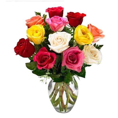 Clustered Blooming Happiness 10 Mixed Roses in a Vase
