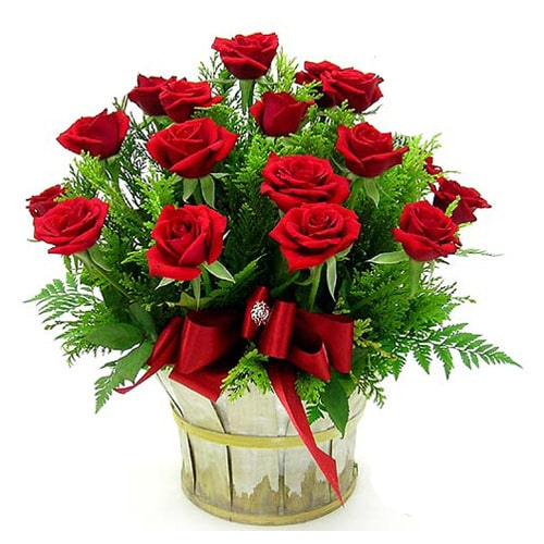 Blooming 18 Red Roses Basket with Impressions of Love