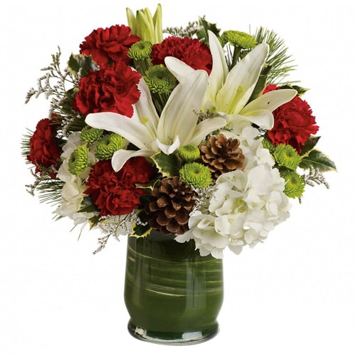 Artistic Forever Bouquet of Red and White Flowers