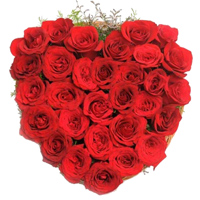 Touching Heart of Love 24 Red Roses Heart Shaped Arrangement To Fukuoka
