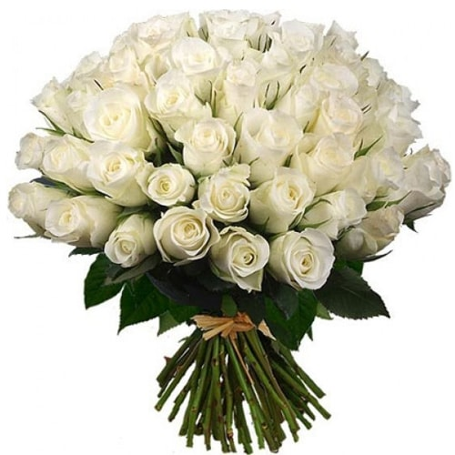 Blooming 50 Fresh White Roses Arrangement with Love
