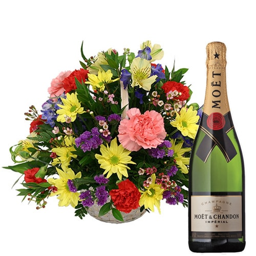 Captivating Fresh Seasonal Flowers and a Bottle of Champagne