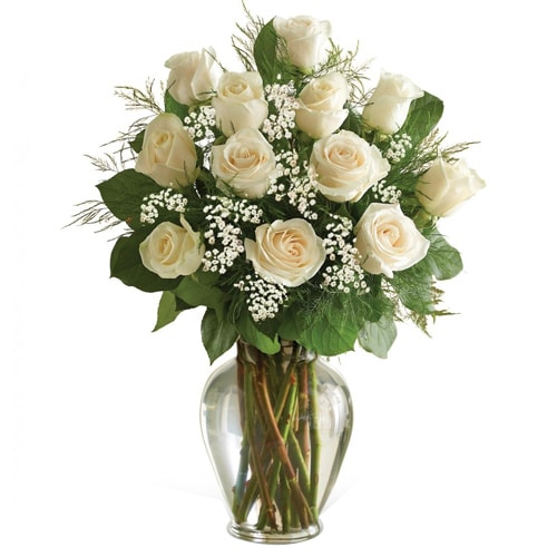 Lovely Basket of 12 White Roses To
